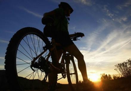 骑着自行车上下班